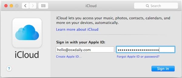 how to login to icloud account from mac